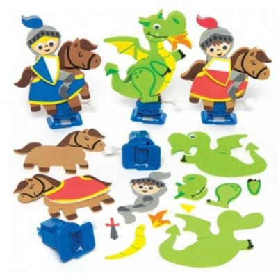 Baker Ross Knights & Dragons Wind-Up Racer Kits (Pack of 3)