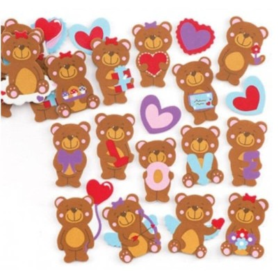 Baker Ross Love Bears Foam Stickers (Pack of 120)
