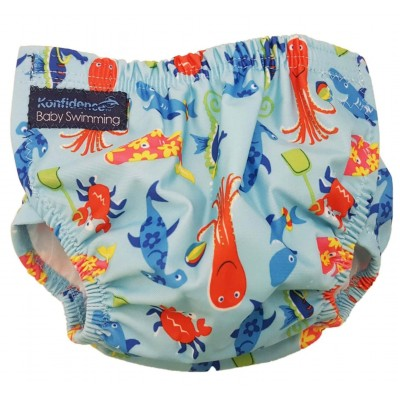 Konfidence AquaNappy Swim Nappy (One Size) - Sea Friends Aqua