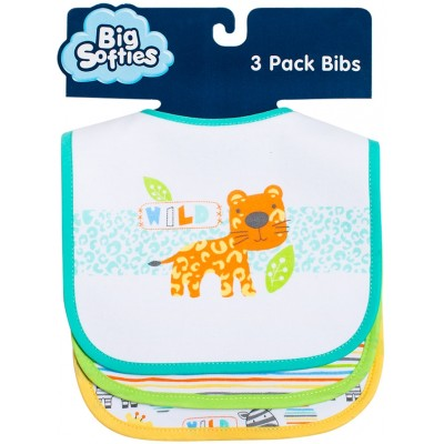 Big Softies 3-Pack Bibs with Applique - Tiger