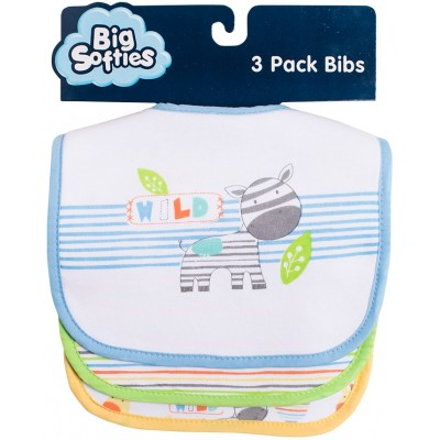 Big Softies 3-Pack Bibs with Applique - Zebra