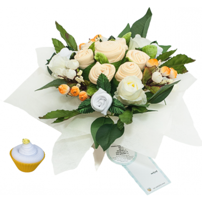 Dotty Bee Bouquet & Cupcake Gift Set - Yellow