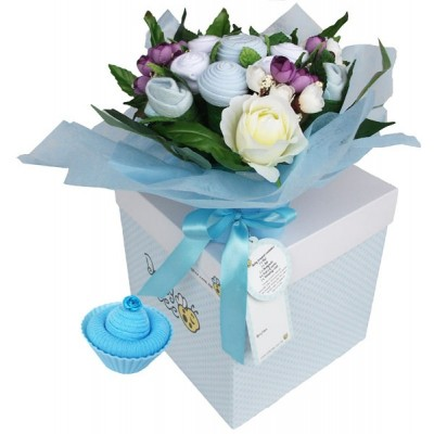 Dotty Bee Bouquet & Cupcake Gift Set - Blue