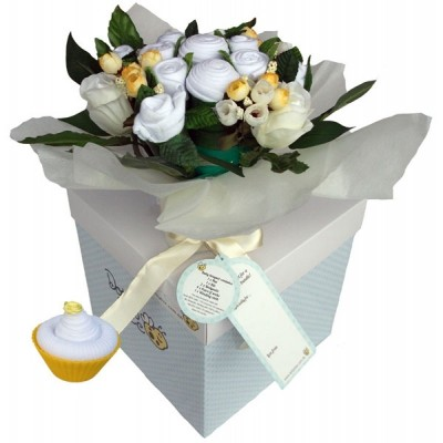Dotty Bee Bouquet & Cupcake Gift Set - White