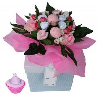 Dotty Bee Bouquet & Cupcake Gift Set - Pink