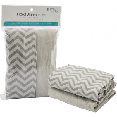 Tutti Bambini CoZee Fitted Sheets (Twin Pack) - Chevron/Grey