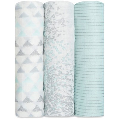 aden + anais Silky Soft Swaddles 3-Pack - Metallic Skylight Birch