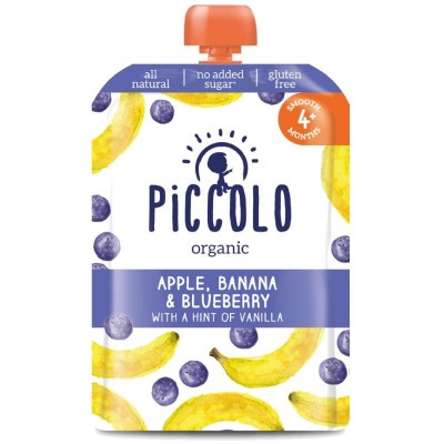 Piccolo Apple, Banana & Blueberry with a Hint of Vanilla 100g (4mos+)