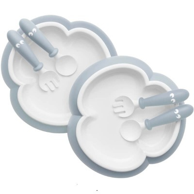 BabyBjorn Baby Plate, Spoon and Fork, 2-Sets - Powder Blue