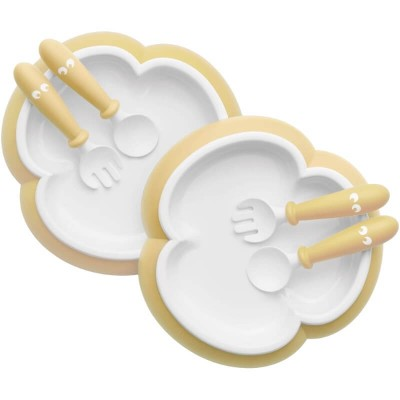BabyBjorn Baby Plate, Spoon and Fork, 2-Sets - Powder Yellow