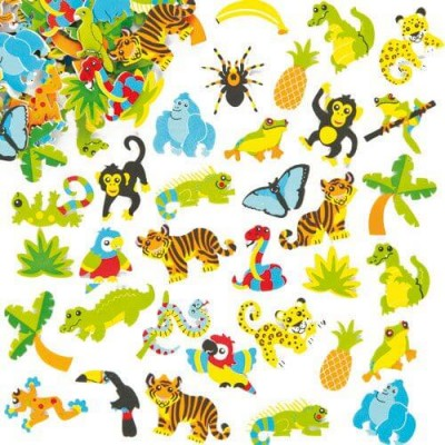 Baker Ross Rainforest Foam Stickers (Pack of 100)