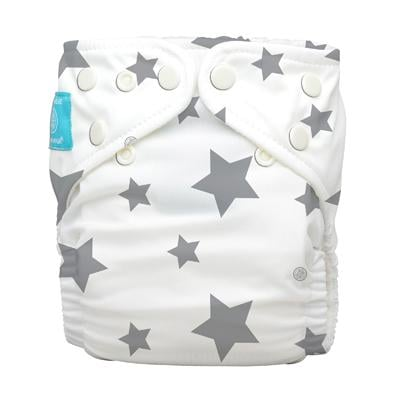Charlie Banana 1 Diaper 2 Deluxe Inserts - Twinkle Little Star Grey (One Size Hybrid AIO)