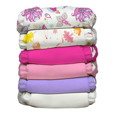 Charlie Banana 6 Diapers 12 Deluxe Inserts - Girly (One Size Hybrid AIO)