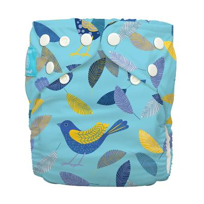 Charlie Banana 1 Diaper 2 Deluxe Inserts - Twitter Birds (One Size Hybrid AIO)