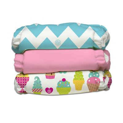 Charlie Banana 3 Diapers 6 Deluxe Inserts - Cotton Candy (One Size Hybrid AIO)