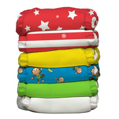 Charlie Banana 6 Diapers 12 Deluxe Inserts - Circus (One Size Hybrid AIO)