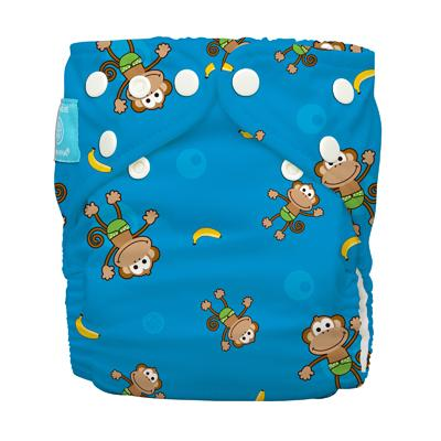 Charlie Banana 1 Diaper 2 Deluxe Inserts - Monkey (One Size Hybrid AIO)