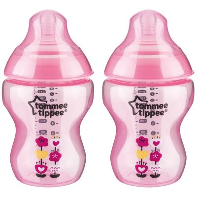 Tommee Tippee Closer to Nature PP Tinted Decorated Bottle 260ml - Pink (Twin Pack)