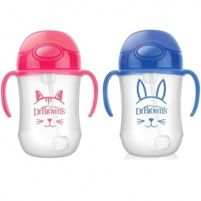 Dr Brown's Baby's First Straw Cup with Handles 9oz (Pink or Blue)