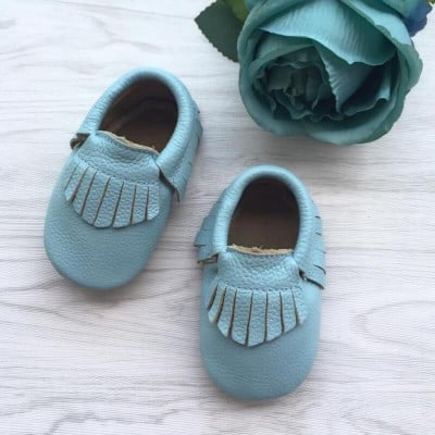 Little Caleb Moccasins - Classic Baby Sky Leather Moccasins - 12-18 mos