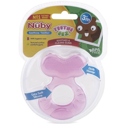 Nuby Comfort Silicone Teethe-Eez Teether with Teething Bristles - Pink 3m+