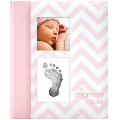 Pearhead Chevron Baby Book - Pink