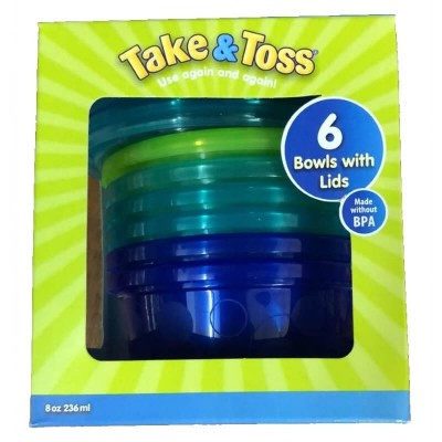 The First Years Take & Toss 8 oz Toddler Bowls with Lids (6-pack)