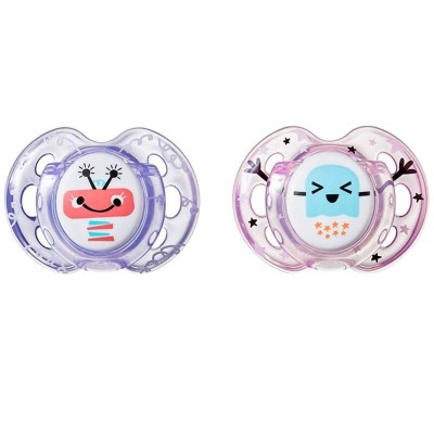 Tommee Tippee Closer to Nature Air Soother 0-6m (Twin Pack) - Purple/Pink