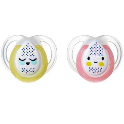 Tommee Tippee Closer to Nature Night Time Soother 0-6m (Twin Pack) - Yellow/Pink