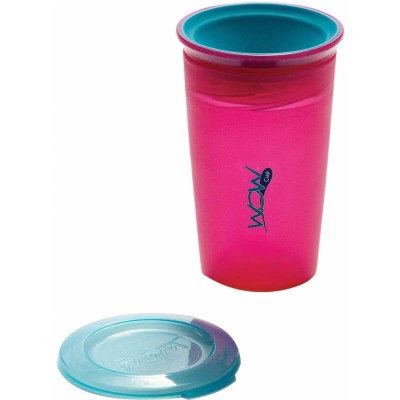 Wow Gear 9 oz (266ml) WOW Cup for Kids Spill Free Drinking Cup - Translucent Pink with Blue Valve